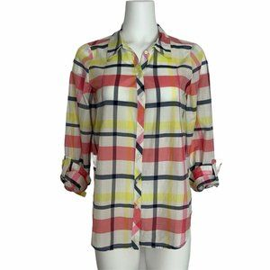Joie Blouse S Plaid Roll Tab Long Sleeve Button Up